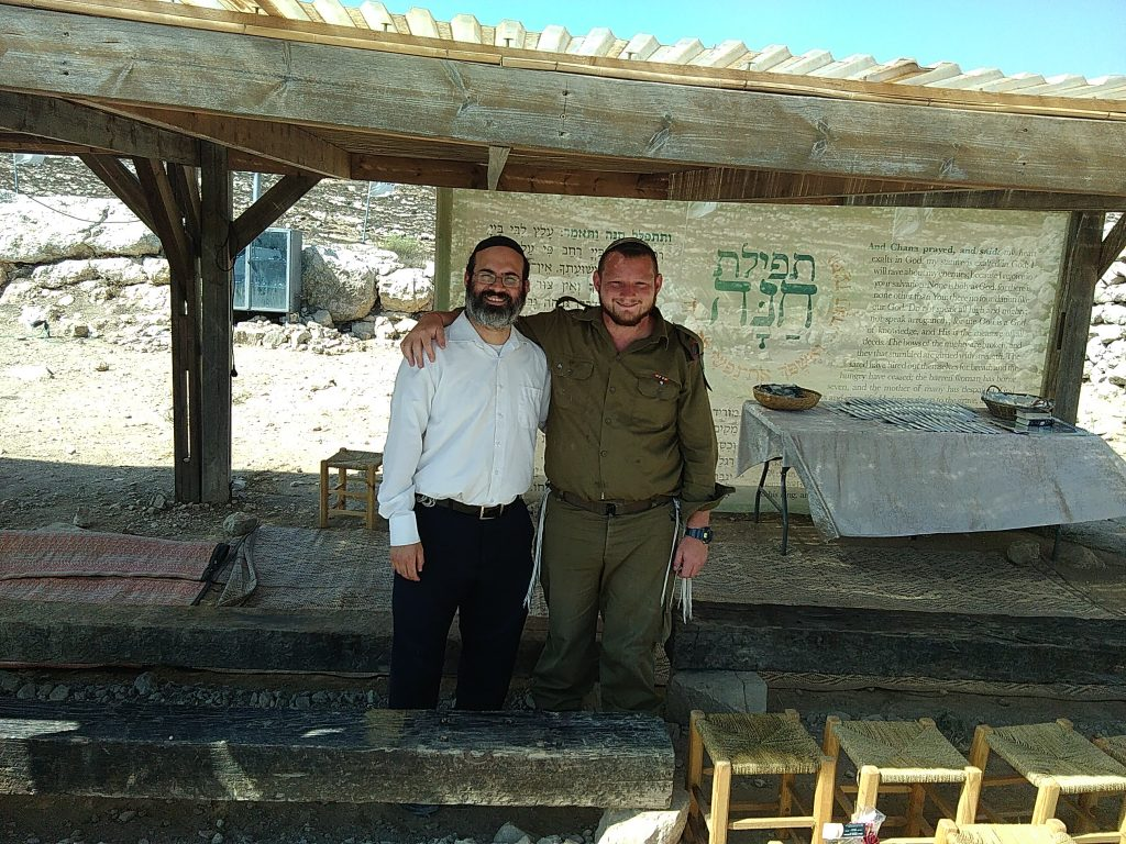 Rabbi Shalom Miller with IDF soldier Jason David Marx at the site of Ancient Shiloh