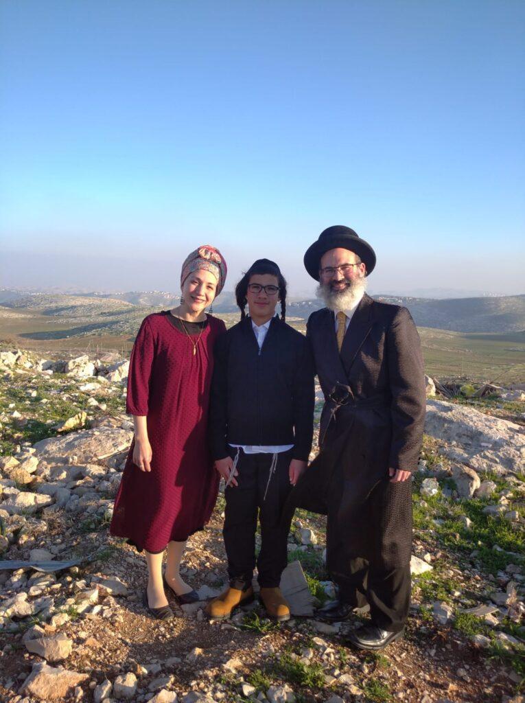 Shalom, Batya and Tuvia Miller in Yishuv Adam
